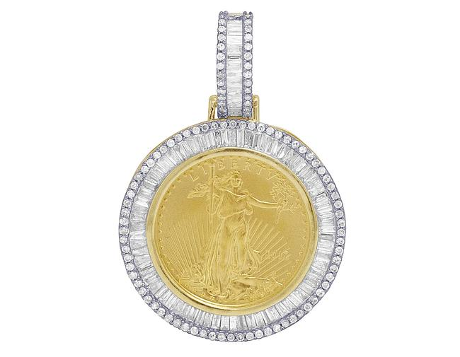 """Jewelry Unlimited 10k Yellow Gold Real Diamond Baguette Liberty Coin Pendant 1.3"""" 0.78ct 1/10oz Charm Jewelry Unlimited 10k Yellow Gold Real Diamond Baguette Liberty Coin Pendant 1.3"""" 0.78ct 1/10oz Charm Image 1"""