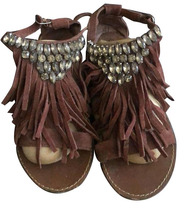 Coconuts Brown Fringed Rhinestone Sandals Size US 6.5 Regular (M, B) Coconuts Brown Fringed Rhinestone Sandals Size US 6.5 Regular (M, B) Image 1