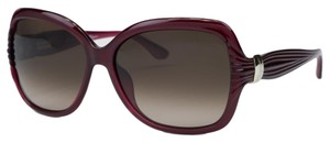 Salvatore Ferragamo Salvatore Ferragamo Pearl Red Oversized Square Sunglasses