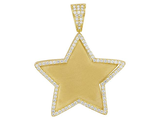"Jewelry Unlimited 10k Yellow Gold Real Diamond Star Picture Engrave Pendant 2"" 1.25ct Charm Jewelry Unlimited 10k Yellow Gold Real Diamond Star Picture Engrave Pendant 2"" 1.25ct Charm Image 1"