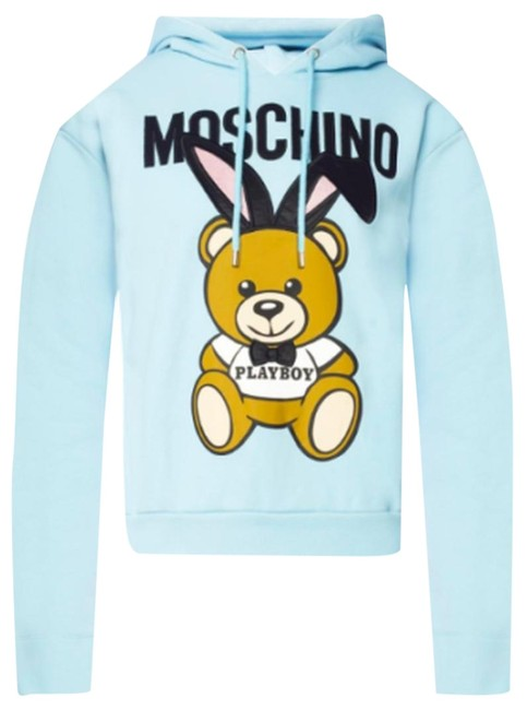 Item - Light Blue Jeremy Scott Teddy Bear Playboy 3d Pompo Sweatshirt/Hoodie Size 00 (XXS)