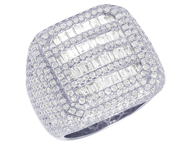 Item - 14k White Gold XL Men Championship Rounded Square Baguette Pinky Ring