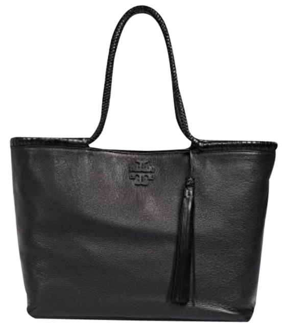 Tory Burch Taylor XL Pebbled Leather Black Tote Tory Burch Taylor XL Pebbled Leather Black Tote Image 1