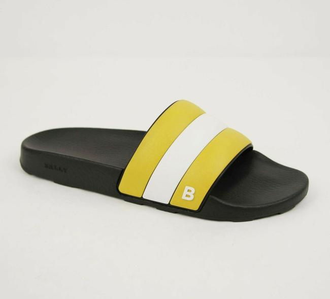 Bally Black/Yellow/White Rubber Slide Sandals with Yellow/White Web Detail Us 8d/7 Eu Sleter Shoes Bally Black/Yellow/White Rubber Slide Sandals with Yellow/White Web Detail Us 8d/7 Eu Sleter Shoes Image 1