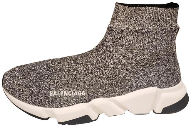 Balenciaga Silver/Black Metallic Stretch Knit Sock Speed Sneakers Size EU 42 (Approx. US 12) Regular (M, B) Balenciaga Silver/Black Metallic Stretch Knit Sock Speed Sneakers Size EU 42 (Approx. US 12) Regular (M, B) Image 1