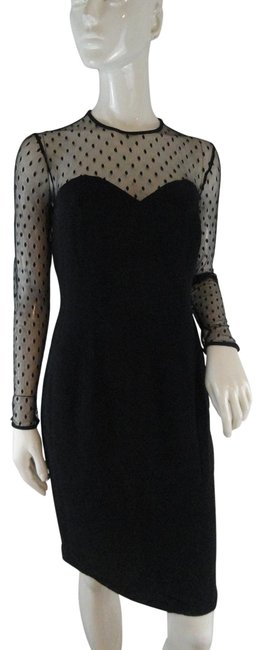 Preload https://img-static.tradesy.com/item/27917878/black-with-sheer-polka-dotted-sleeves-sku-000085-night-out-dress-size-8-m-0-1-650-650.jpg