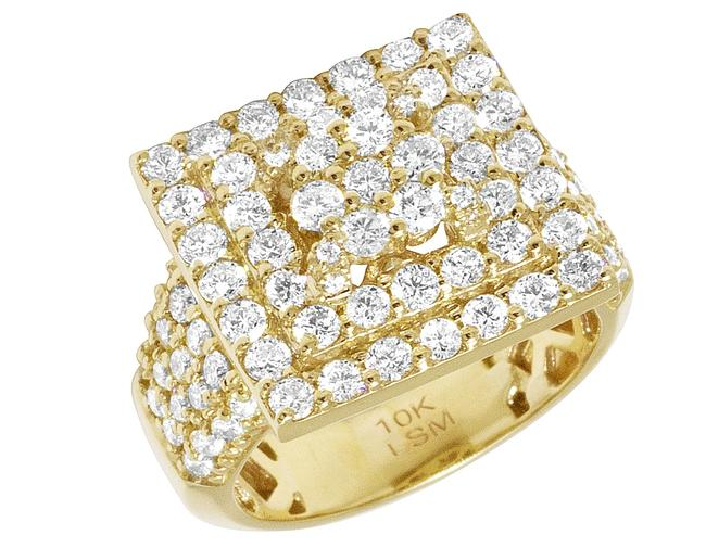 Item - 10k Yellow Gold Real Diamond Square Halo Cluster 17mm 3.50ct Ring