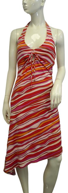 Item - Pink Red Orange Striped Mid-length Short Casual Dress Size 6 (S)