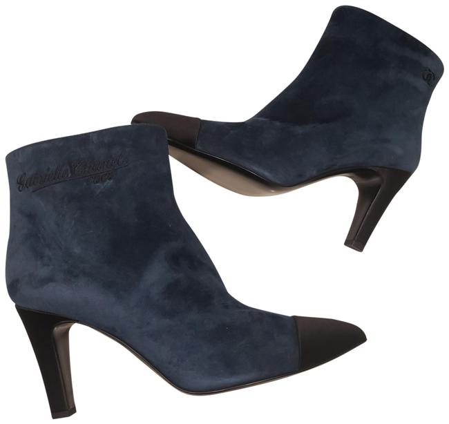 Item - Blue/Black Gabrielle 19c Coco Cc Signature Leather Cap Toe Ankle Heels Boots/Booties Size EU 41.5 (Approx. US 11.5) Regular (M, B)