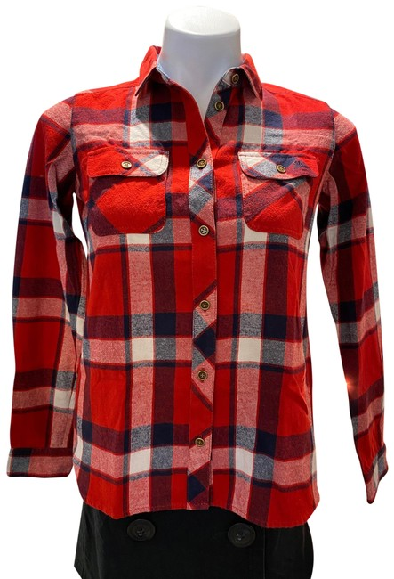 Item - Red Flannel Type Shirt Button-down Top Size 4 (S)