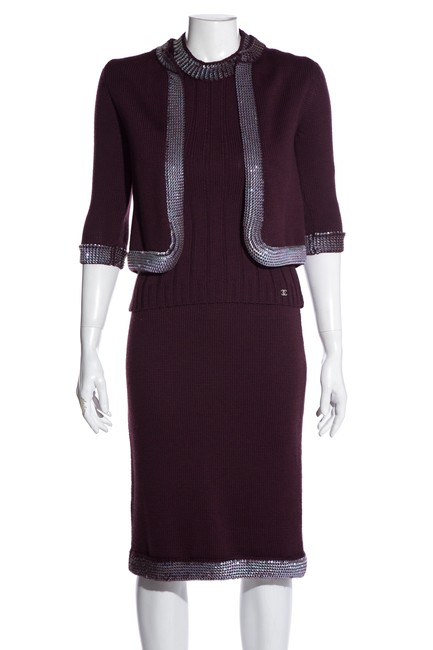 Item - Eggplant Knit Sequin Top & Cardigan Set Skirt Suit Size 4 (S)
