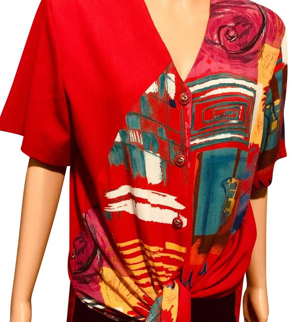 Item - Red with Blue/Yellow/White/Green Lot 6011 (#021) Blouse Size 14 (L)