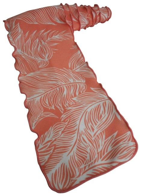 Item - Orange White Tropical Leaf Feather Pattern 1960s 70s Rectangle Scarf/Wrap