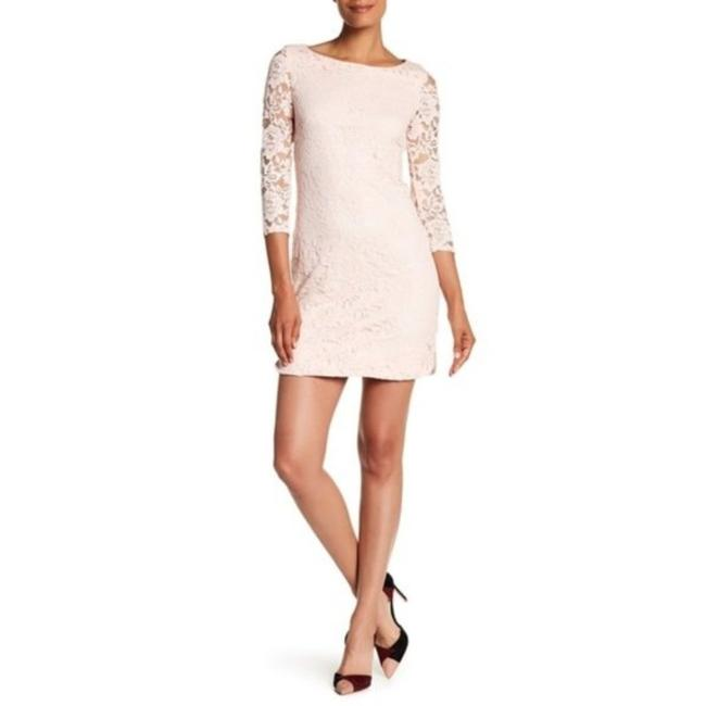 Item - Pink Floral Lace Shift Mid-length Work/Office Dress Size 14 (L)