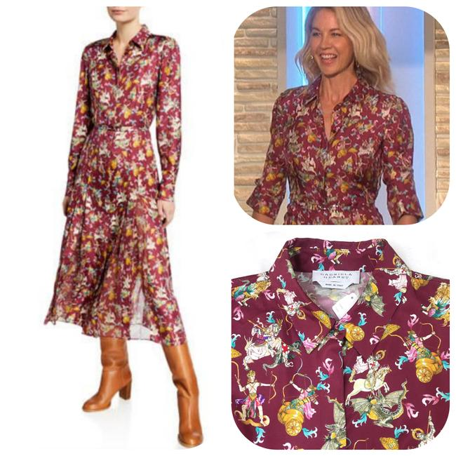 """Item - Multicolor """"Jane"""" Mythical Print Silk Shirtdress Mid-length Work/Office Dress Size 6 (S)"""