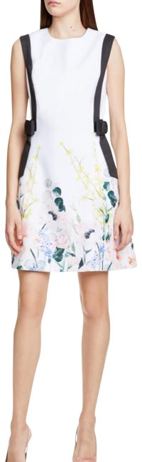 Item - White Elegance Floral Print Bow A-line Dress*nwt Short Night Out Dress Size 6 (S)