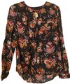 Anthropologie Black Orange Red Pink Conversations By Limited-edition Capsule Collection Button-down Top Size 0 (XS) Anthropologie Black Orange Red Pink Conversations By Limited-edition Capsule Collection Button-down Top Size 0 (XS) Image 1