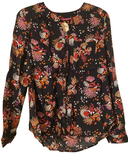 Item - Black Orange Red Pink Conversations By Limited-edition Capsule Collection Button-down Top Size 0 (XS)