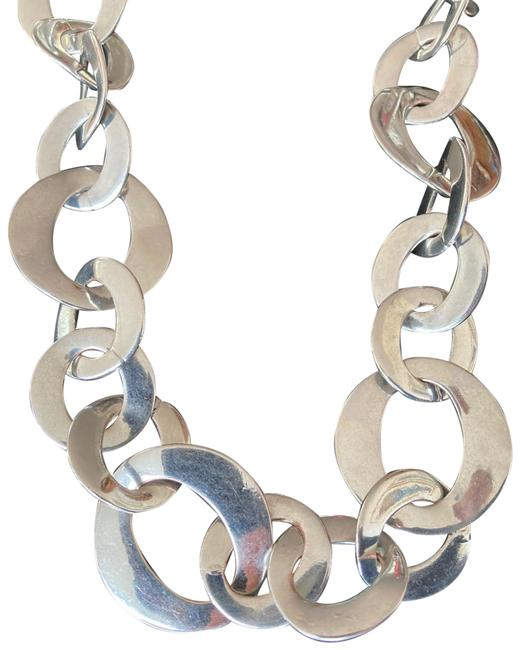 Item - Silver Oval Links Long Necklace