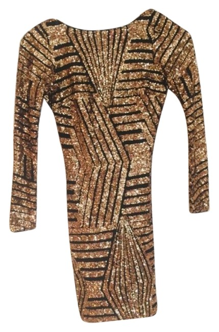 Dress the Population Gold Sequin Lola Long Sleeve Short Night Out Dress Size 0 (XS) Dress the Population Gold Sequin Lola Long Sleeve Short Night Out Dress Size 0 (XS) Image 1