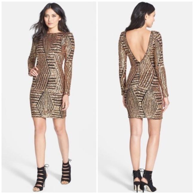 Dress the Population Gold Sequin Lola Long Sleeve Short Night Out Dress Size 0 (XS) Dress the Population Gold Sequin Lola Long Sleeve Short Night Out Dress Size 0 (XS) Image 2