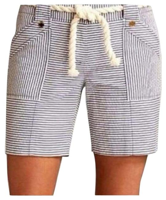 Item - White and Navy Seersucker Rope Belt Pinstriped Shorts Size 4 (S, 27)
