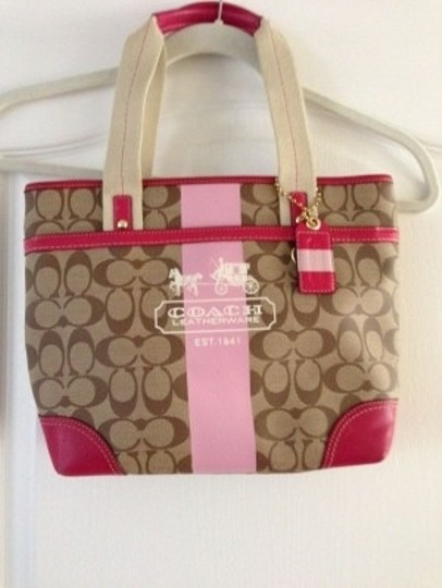 Preload https://item1.tradesy.com/images/coach-handbag-with-stripe-tan-and-pink-leather-tote-27920-0-0.jpg?width=440&height=440