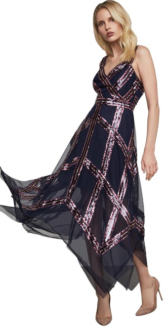 Item - Blue Sequined Tulle A-line Sheer Navy Blue/Pink New Long Cocktail Dress Size 0 (XS)