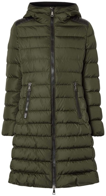 Item - Army Green Talev Hooded Faux Leather-trimmed Quilted Shell Down Jacket Coat Size 12 (L)