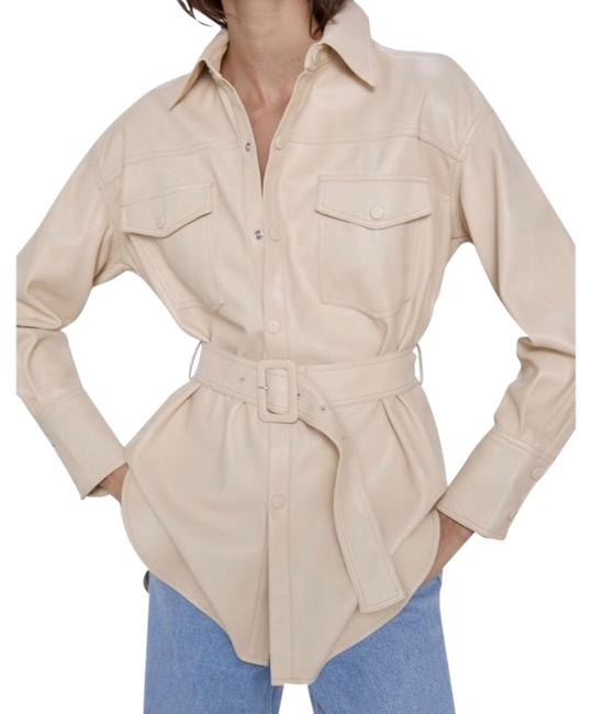 Item - Creamy Beige Soft Faux Belted Jacket Size 2 (XS)