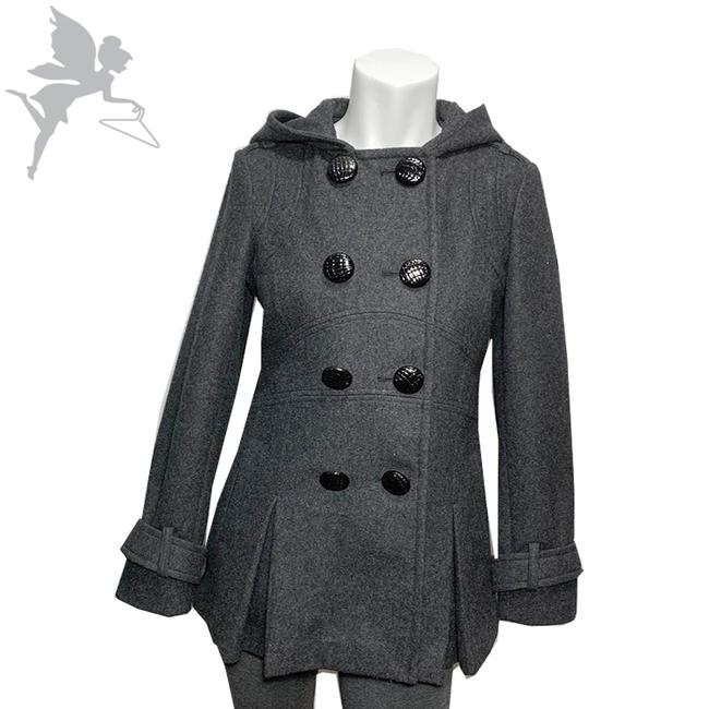 Item - Gray + Black Flared Hooded Coat Size 4 (S)