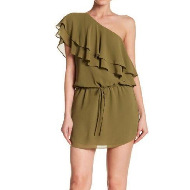 Item - Olive One Shoulder Ruffle Short Casual Dress Size 4 (S)