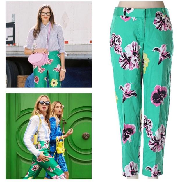 Item - Green Purple Pink Yellow City Fit Slimmer Floral Pants Size 00 (XXS, 24)