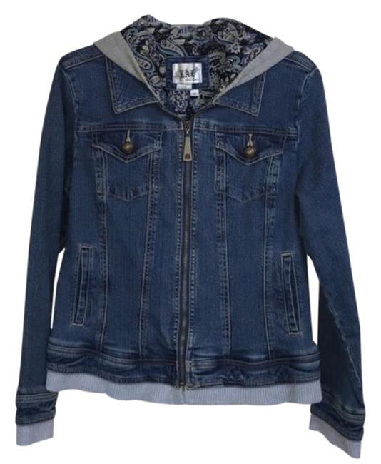 Item - Blue and Gray Hooded Layered Jean Jacket Size 8 (M)