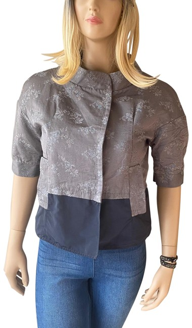 Item - Gray and Navy Blue Kimono Crop Jacket Size 4 (S)