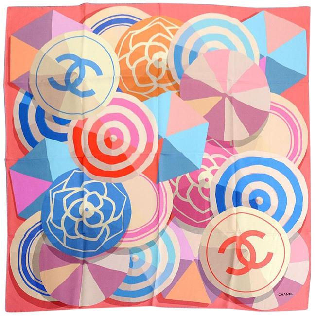 Item - Pink/Blue/Multicolor Rdc11073- Pink/Blue/Multicolor Beach Ball/Umbrella Silk Scarf/Wrap