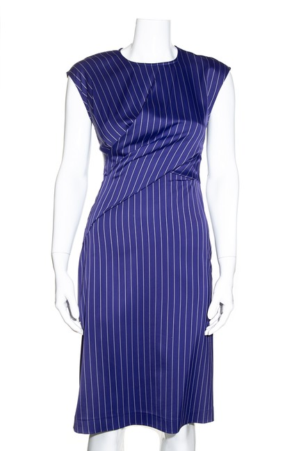 Item - Blue With White Stripes Mid-length Cocktail Dress Size 2 (XS)