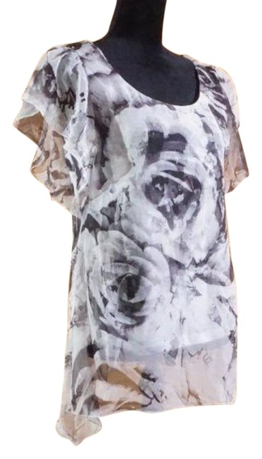 Item - Black and White Floral Sheer Blouse Size 4 (S)