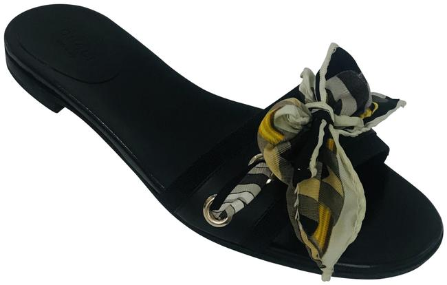 Item - Black Gg Canvas and Leather Scarf Flat Sandals Size US 7 Regular (M, B)