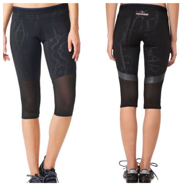 Item - Black Print and Mesh Performance Legging Capris Activewear Bottoms Size 12 (L, 32, 33)