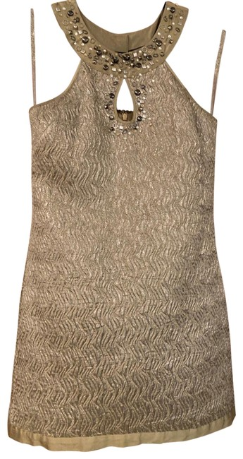 Item - Gold/Silver Shift Short Cocktail Dress Size 0 (XS)