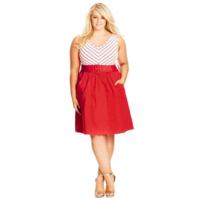 Item - Red Striped Sleeveless Ahoy Mid-length Casual Maxi Dress Size 20 (Plus 1x)