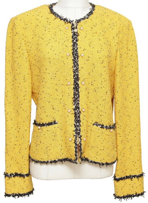 Item - Yellow Collection Knit Jacket Sweater Black Pearls Blazer Size 16 (XL, Plus 0x)