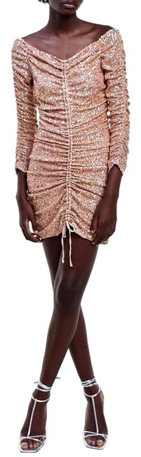 Item - Rose Gold Draped Ruched Sequin Mini Short Cocktail Dress Size 6 (S)