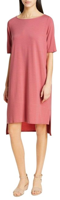 Item - Pink Jersey Tencel Elbow-sleeve Short Casual Dress Size 12 (L)