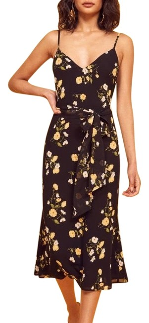 Reformation Black Dietrich Midi Floral Mid-length Short Casual Dress Size 0 (XS) Reformation Black Dietrich Midi Floral Mid-length Short Casual Dress Size 0 (XS) Image 1