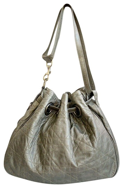 Item - Bag Christian Cannage Quilted Drawstring Gray/Silver Lambskin Leather Tote