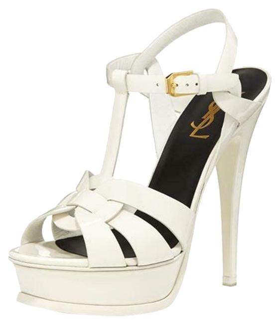 Item - White Tribute Ysl 105 Leather Platform Heels Sandals Size EU 38 (Approx. US 8) Regular (M, B)