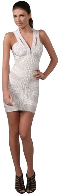 Item - Ivory Batik Print Dove Front Zip Halter Short Night Out Dress Size 4 (S)