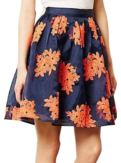 Item - Navy Pink Pome Blossom By Maeve Floral Embroidered Tulle Flare Skirt Size 10 (M, 31)